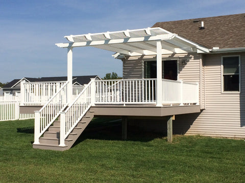 Image of Peaceful Patios Peaceful Patios 20' x 20' Attached Vinyl Pergola