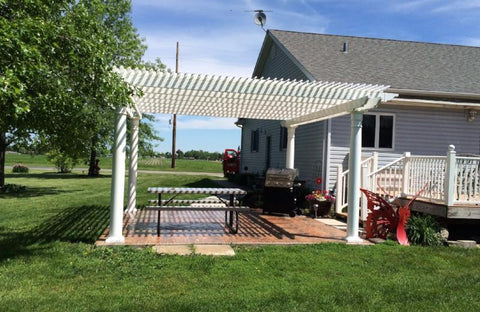 Image of Peaceful Patios Peaceful Patios 20' x 20' Freestanding Vinyl Pergola