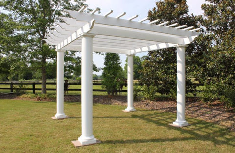 Image of Peaceful Patios Round Column Stock Fiberglass Pergola
