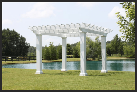 Image of Peaceful Patios Square Column Stock Fiberglass Pergola