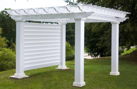 Image of Peaceful Patios Square Column Stock Fiberglass Pergola with Privacy Wall