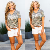 Distressed 'Now You See Me' Camo V Neck