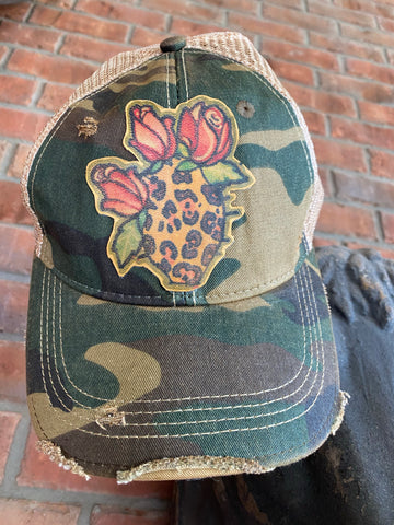 Cheetah Cactus Leather Patch Cap