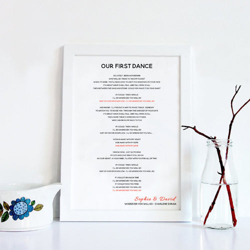 Personalised First Dance Wedding Song Lyrics Wedding Gift Print