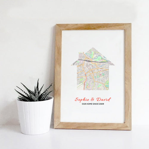 Personalised Map Home Print