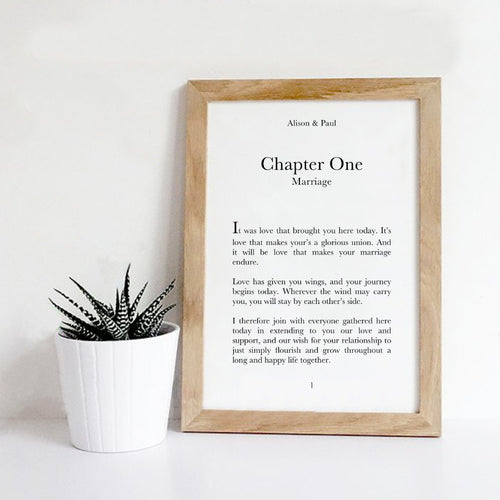 Personalised New Chapter Wedding Print