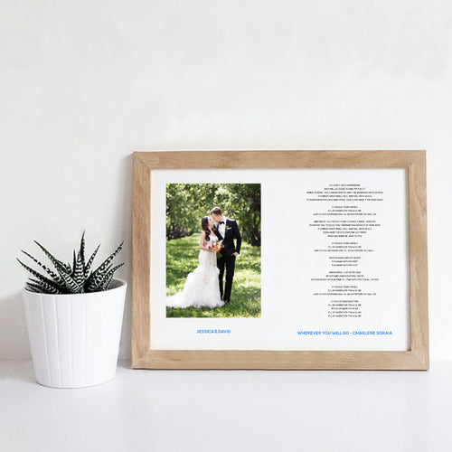 Personalised Wedding Song Lyrics Photo Print