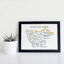 South East London Typography Map Print