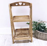 Mango Wood Heart Stand (White or Natural)