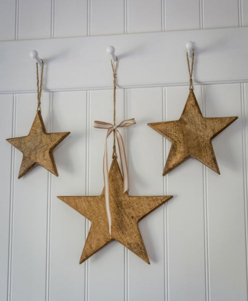 Natural Wood Hanging Stars
