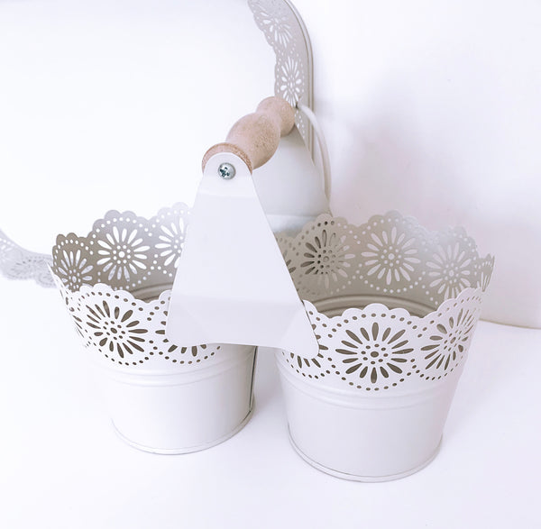 Beige Twin Flower Planter