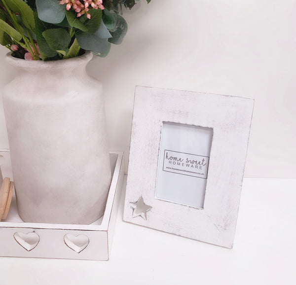 Shabby Chic White 6 x 4 Photo Frame - Star
