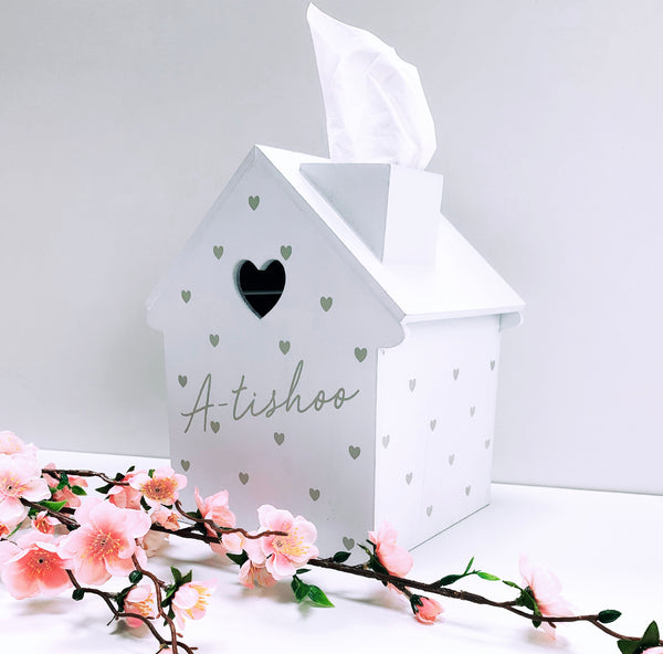 PRE-ORDER Tissue House in White - A-tishoo (Heart Detail) *Exclusive Design*