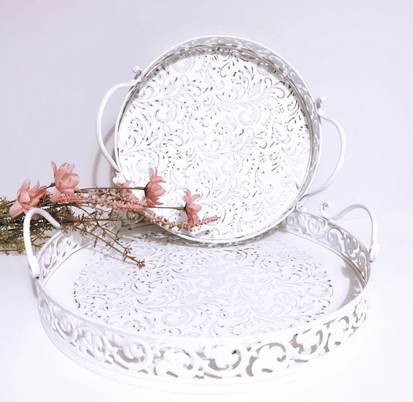 Round White Metal Trays