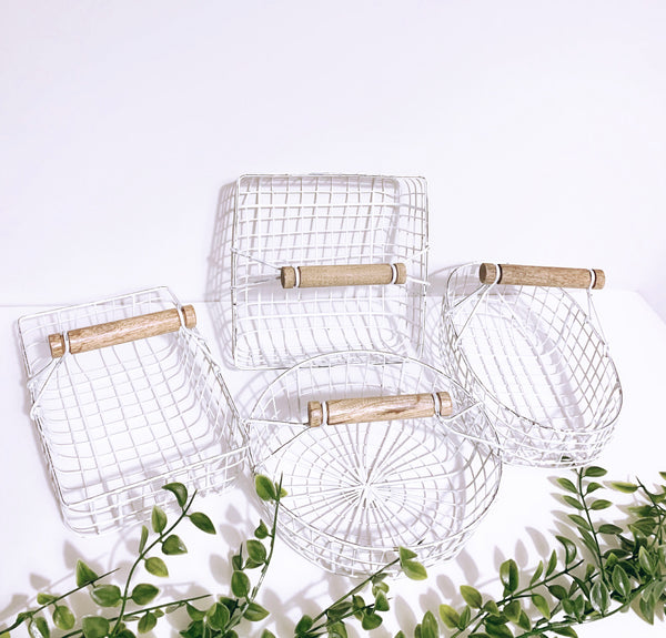 White Wire Rustic Basket
