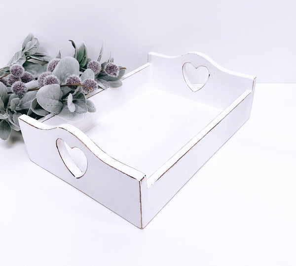 White Distressed 2 Heart Handled Tray