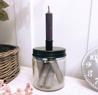 Candle Holder with Screw On Black Lid