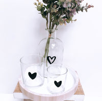 Set of 2 Glass Heart Tealight Holders
