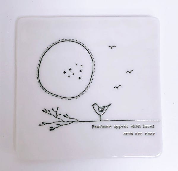 Feathers Appear Porcelain Coaster