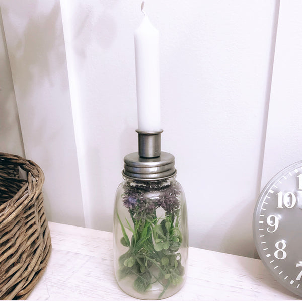 Silver Top Bottle Style Candle Holder
