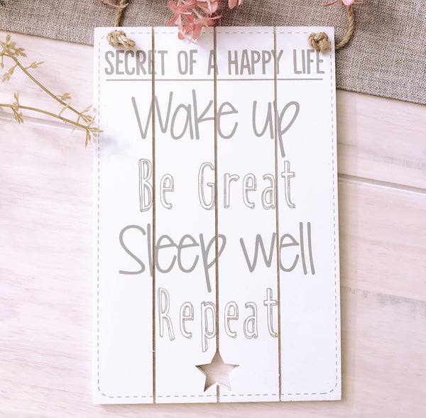 Secret of a Happy Life Plaque