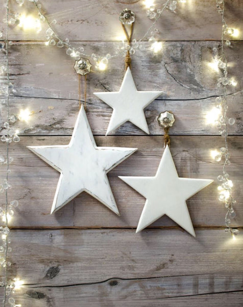 White Wooden Hanging Stars