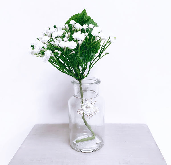 Mini Glass Bottle Vase with Silver Bee