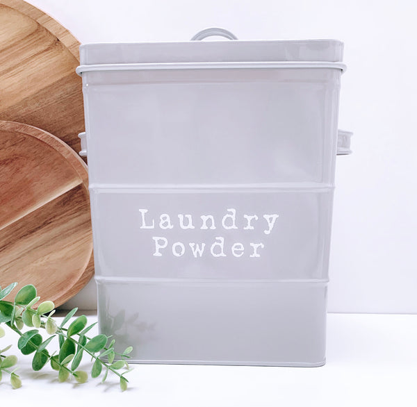 Grey Laundry Powder Tin with Scoop