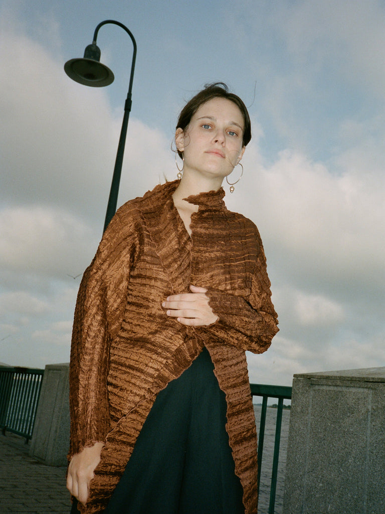 Rust Pleated Jacket