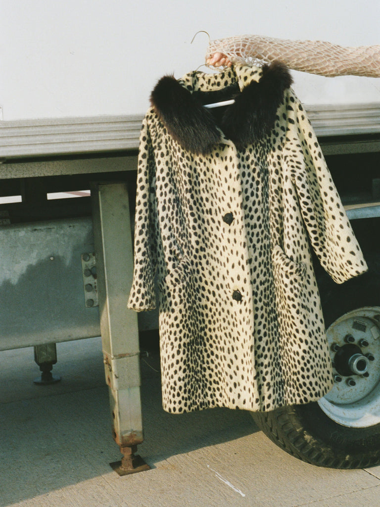 Fur Trimmed Cheetah Print Coat