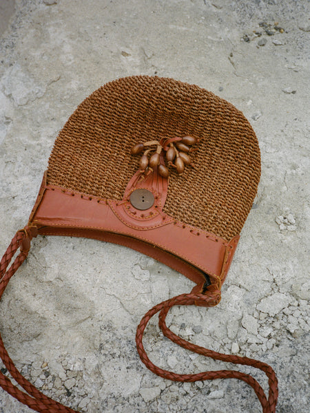 Leather Strap Straw Purse