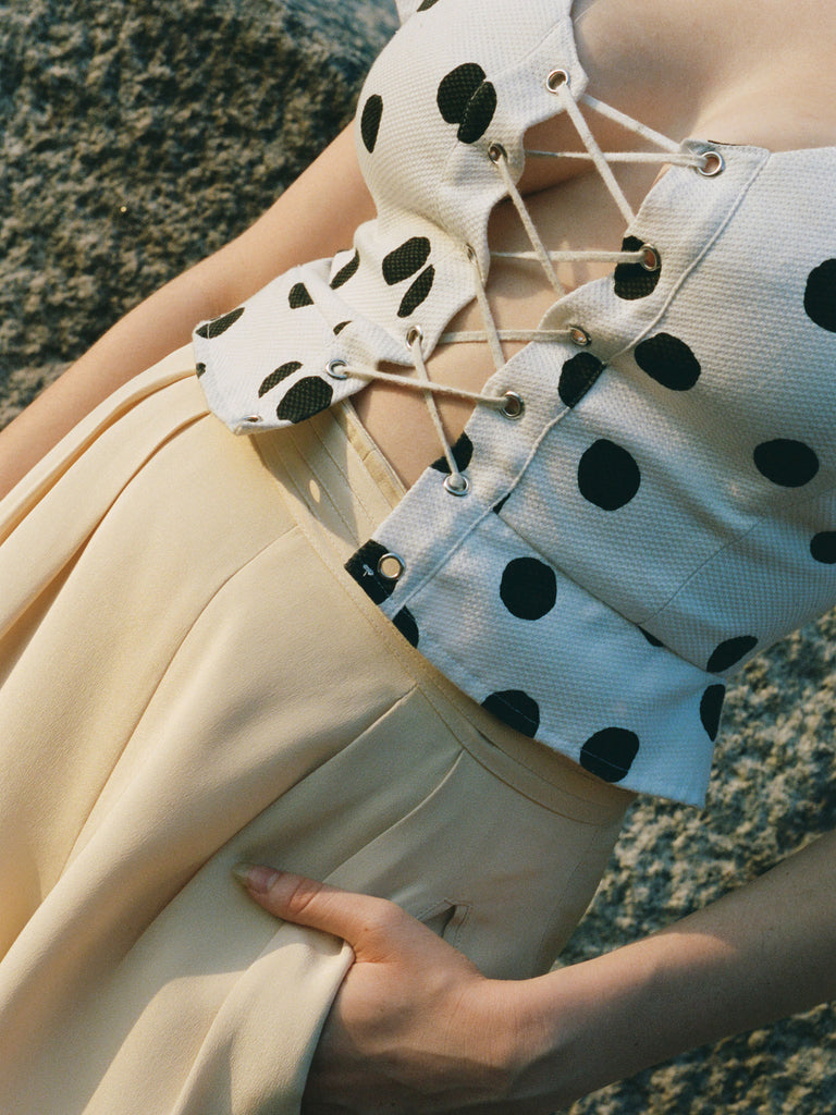 Lace Front Polka Dot Top