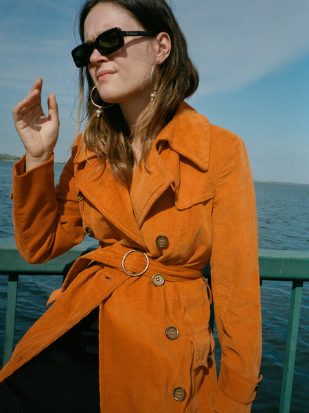 Orange Corduroy Trench