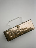 Brass Metallic Box Bag