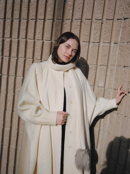 White Wool Cape Coat
