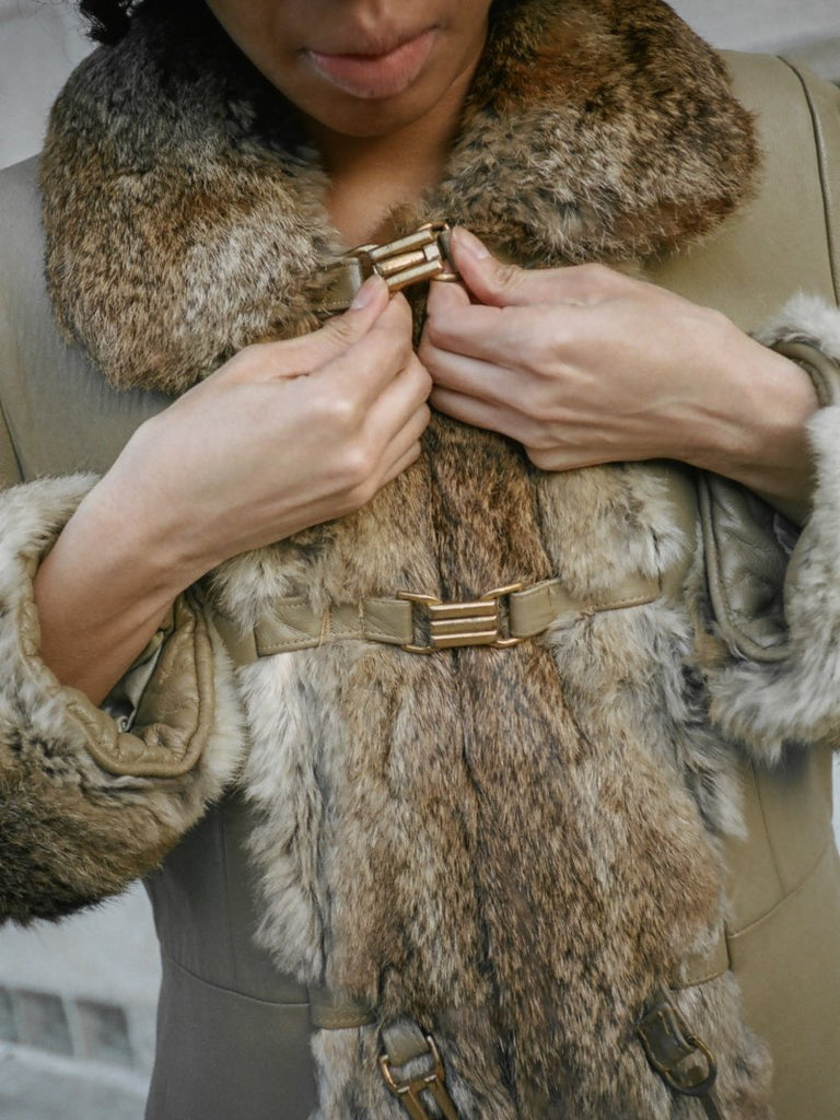 70s Fur Trimmed Leather Coat