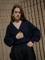 Plunge Neck Navy Knit