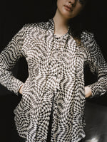 Houndstooth Silk Secretary Blouse
