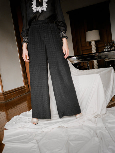 Quilted Silk Palazzo Pants