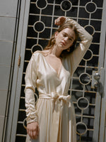 Ivory Belted Silk Dress