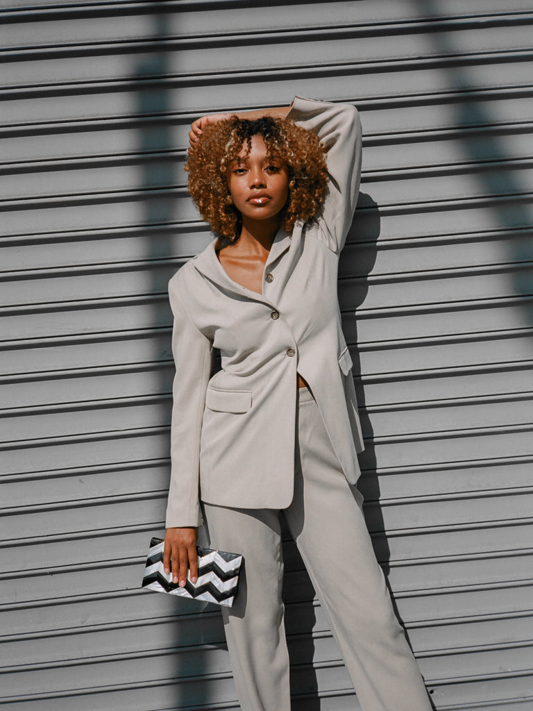 Stone Grey Silk Suit