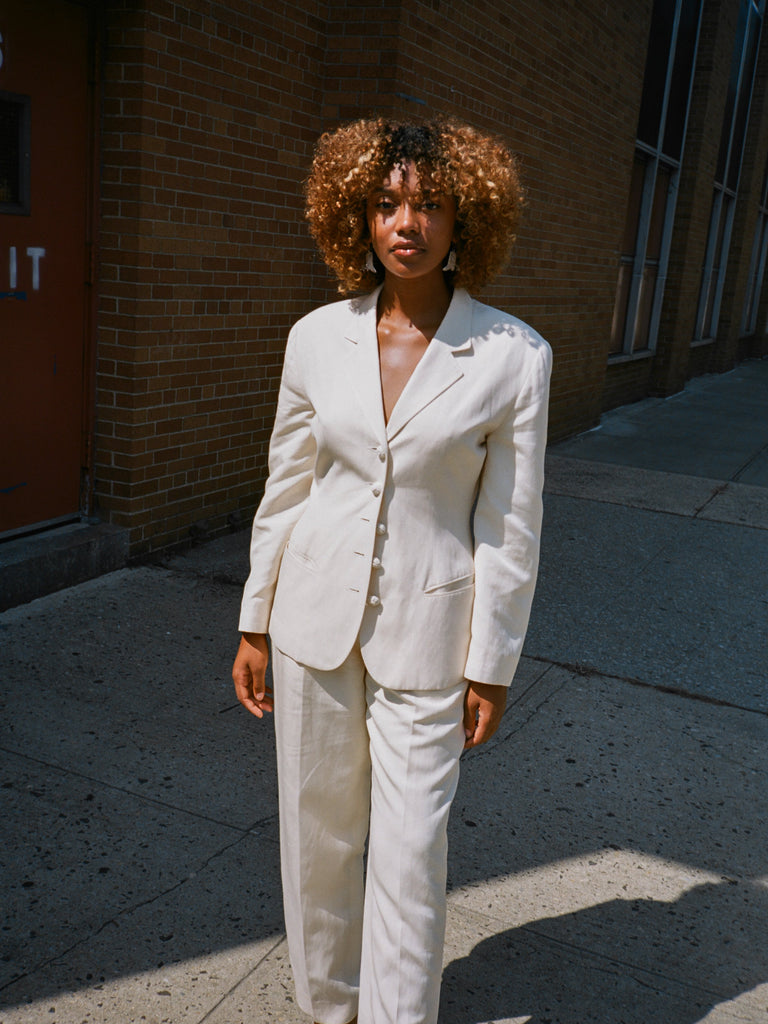 White Silk-Linen Suit