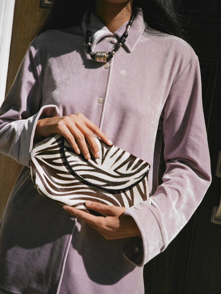 Pony Hair Zebra Clutch