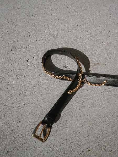 Chain Detail Leather Belt