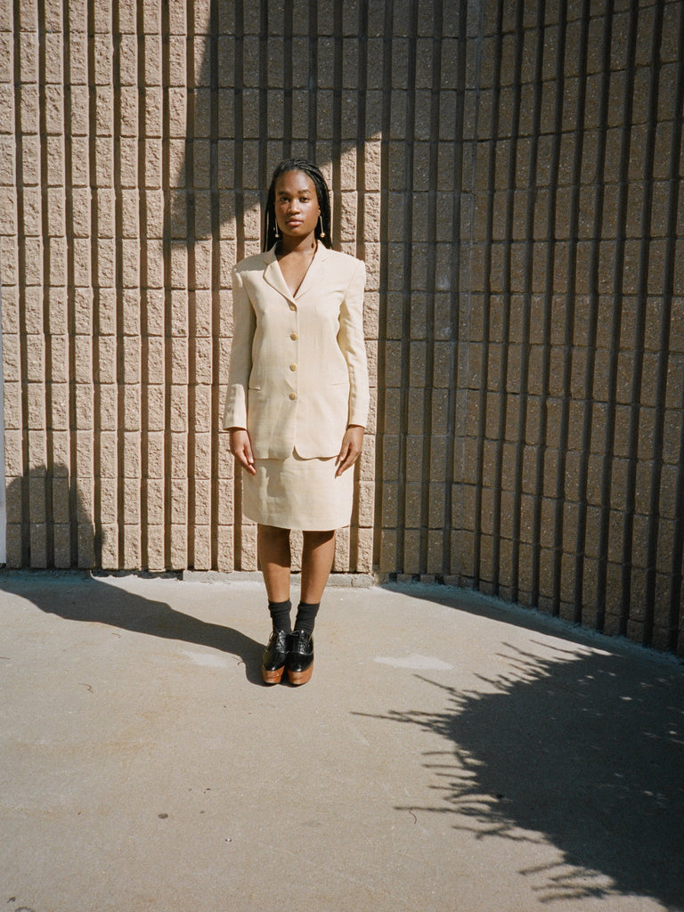 Lemon Check Skirt Suit
