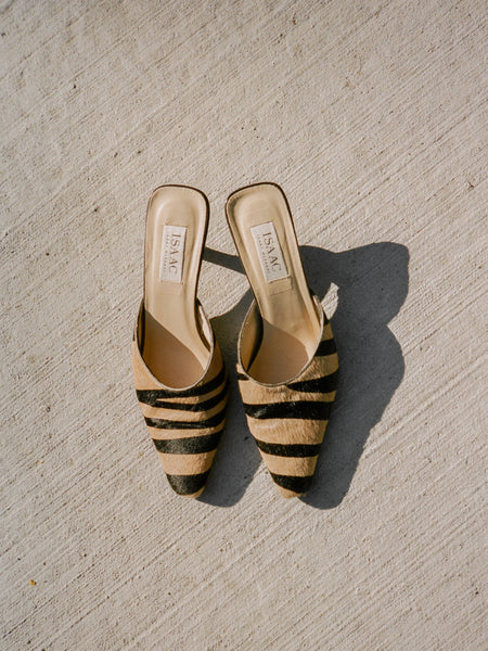 Zebra Pony Hair Mules
