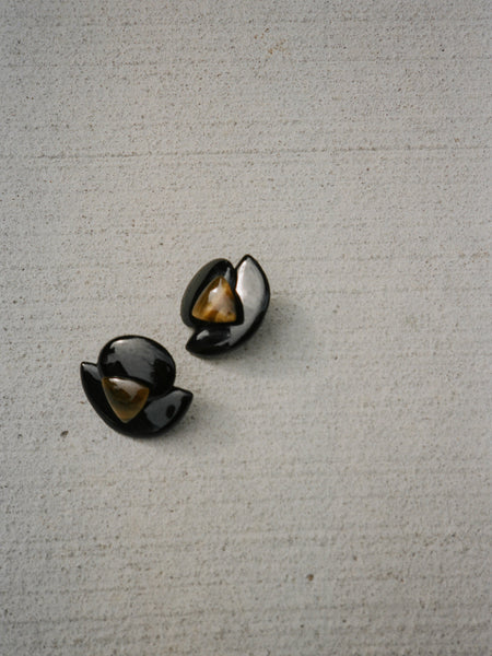 Tigers Eye & Ceramic Clip-Ons