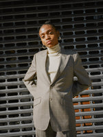 Grey Windowpane Pantsuit