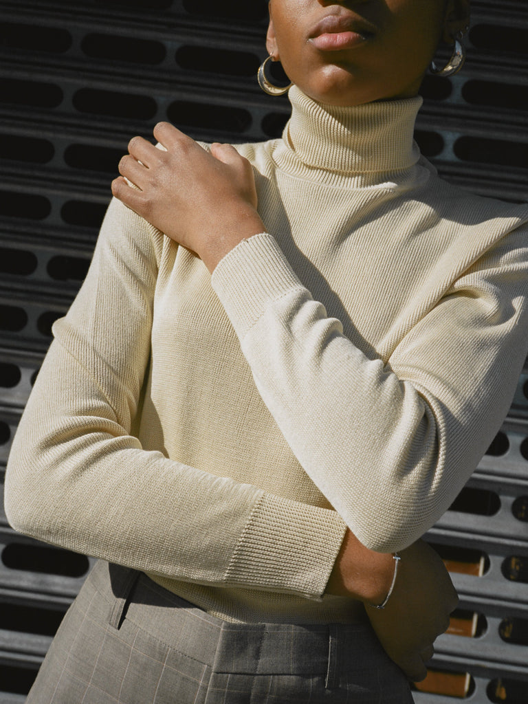 Lemon Silk Knit Turtleneck