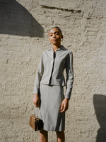 Tahari Grey Wool Skirt Suit